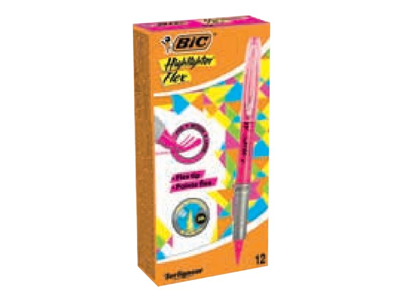 BIC Highlighter Flex - Pack de 12 surligneurs - rose