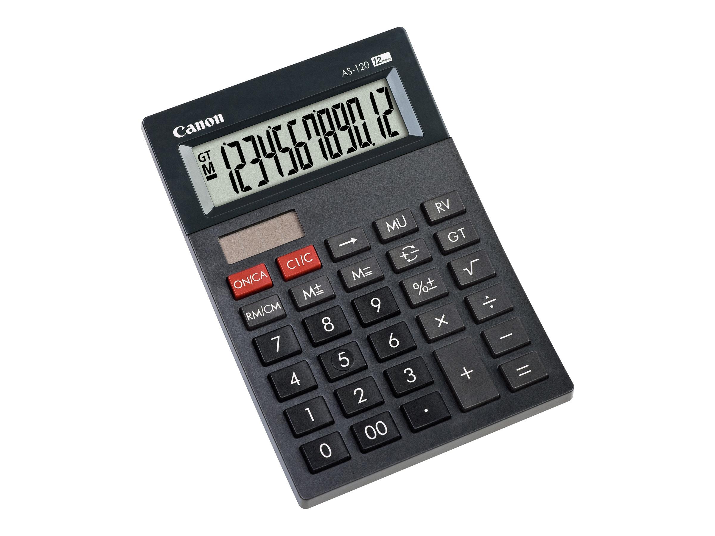 Calculatrice de bureau Canon AS-120 - 12 chiffres - alimentation batterie et solaire