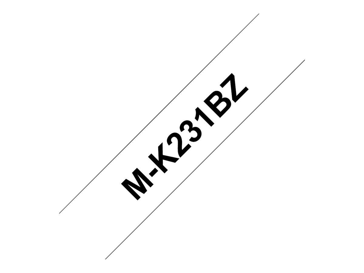 Brother MK231BZ - Ruban d'étiquettes auto-adhésives - 1 rouleau (12 mm x 8 m) - fond blanc écriture noire