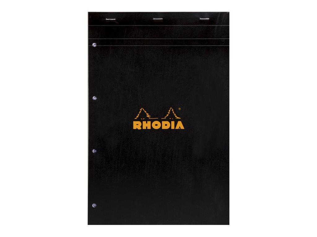 Rhodia Basics - Bloc notes - A4 + - 160 pages - grands carreaux - 80g - noir