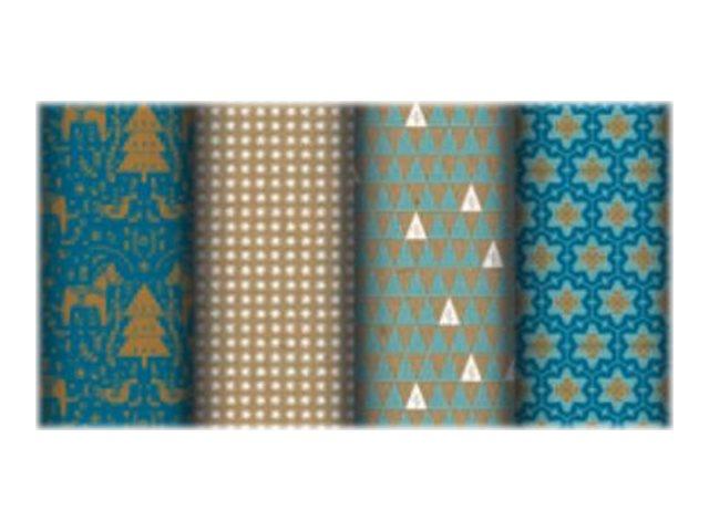 Clairefontaine Eurowrap - Papier cadeau kraft - 70 cm x 2 m - 70 g/m² - différents motifs bleus