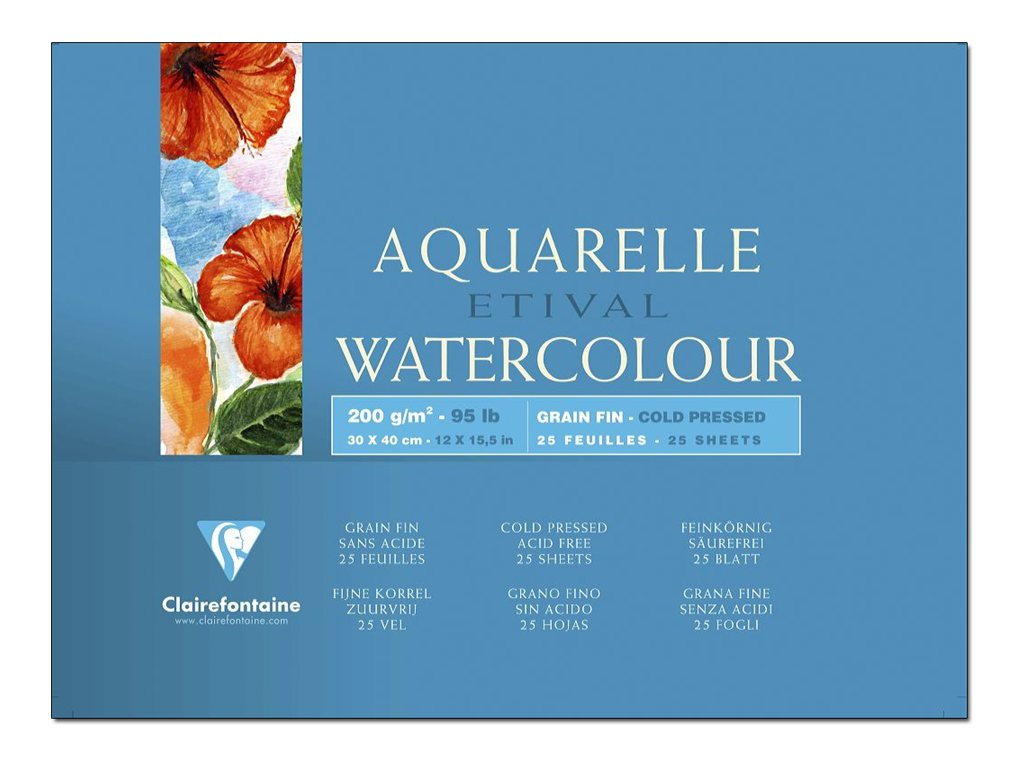 Clairefontaine Etival - Bloc de papier aquarelle grain torchon - 25 feuilles 30 x 40 cm - 200 g/m²