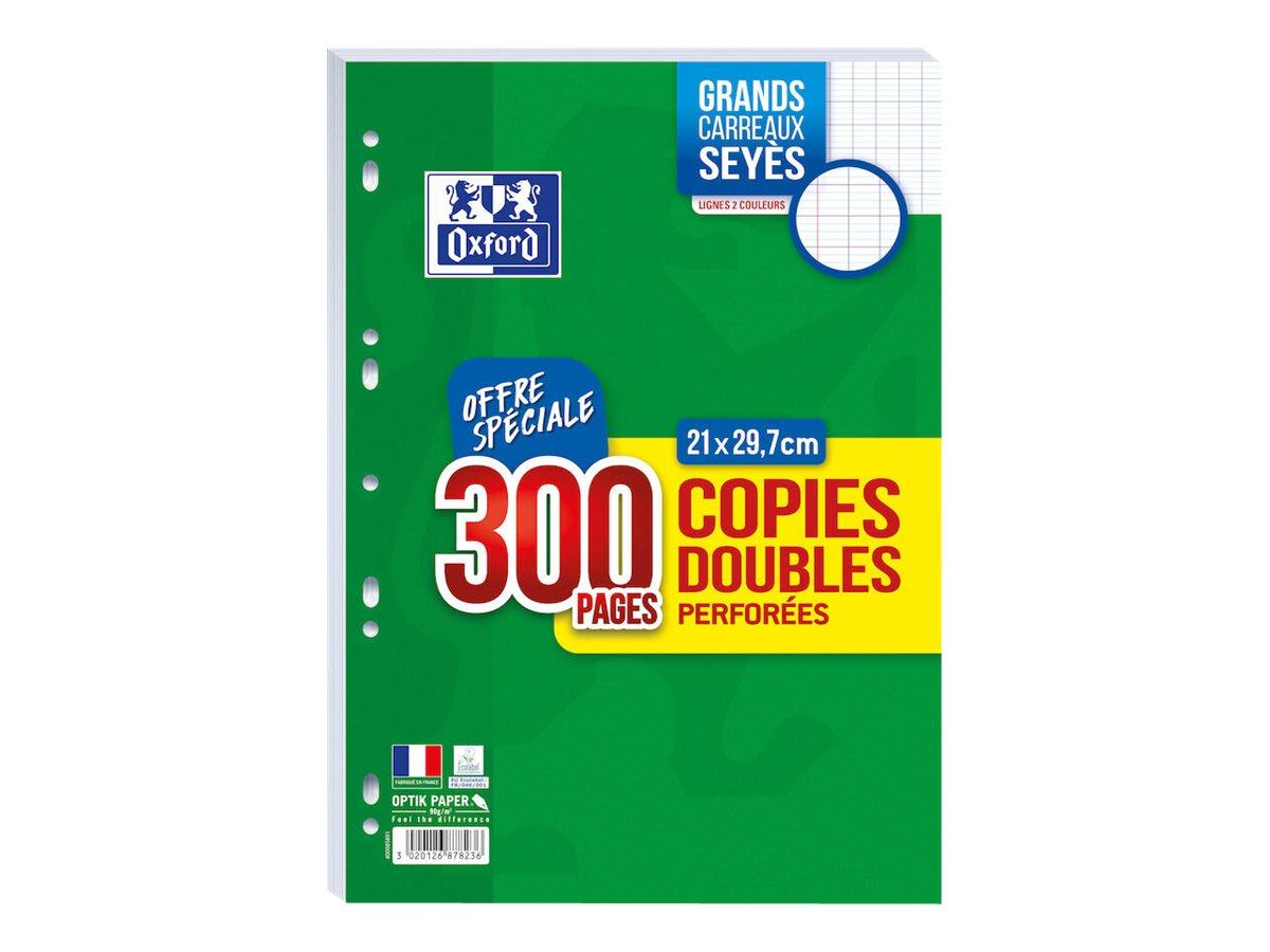 Oxford - 300 copies doubles A4 - grands carreaux (Seyes) - perforées