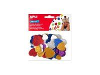 Apli - Sachet de gommettes en mousse - motifs cœurs - couleurs vives