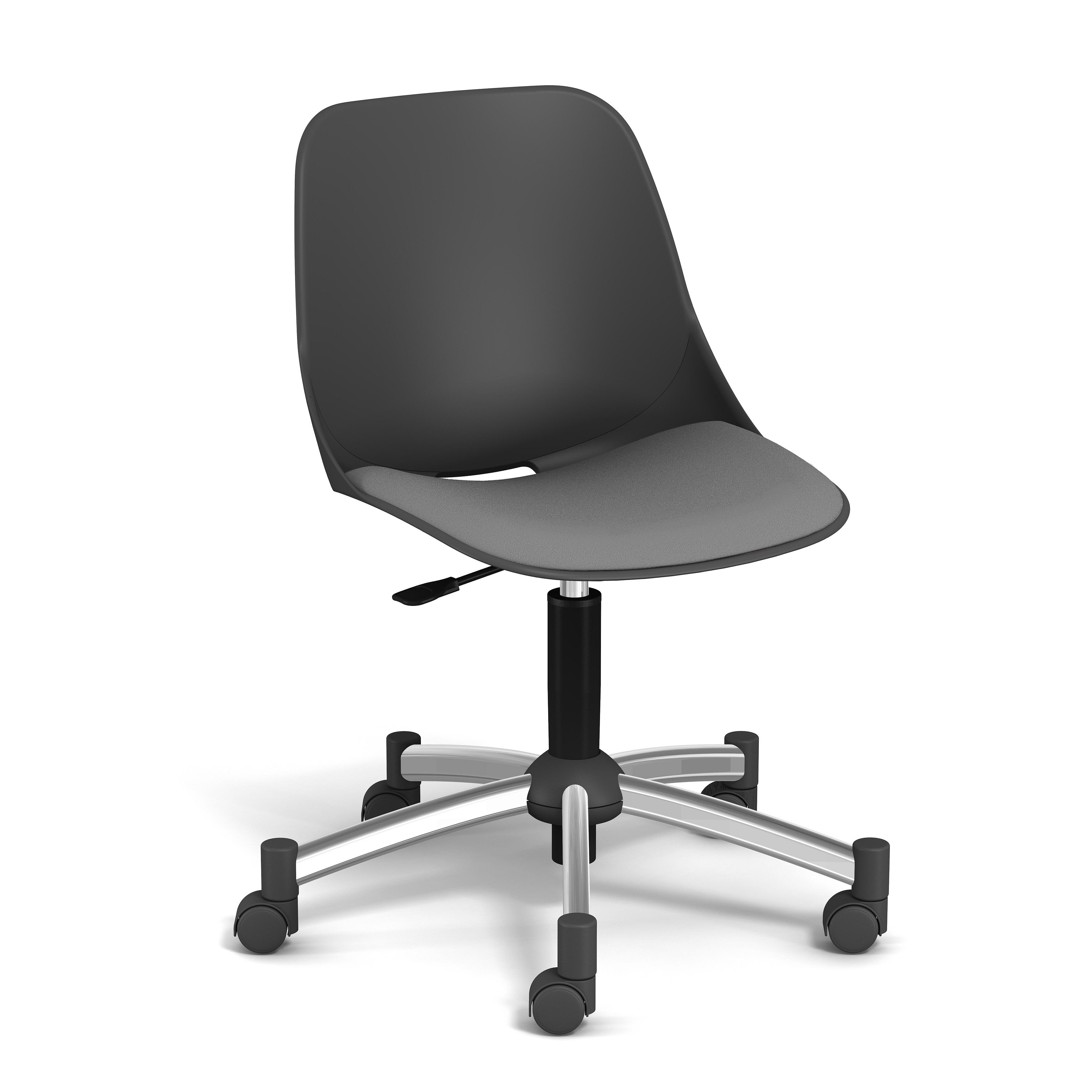 Chaise PALM - coque noire - assise gris clair - base chromé