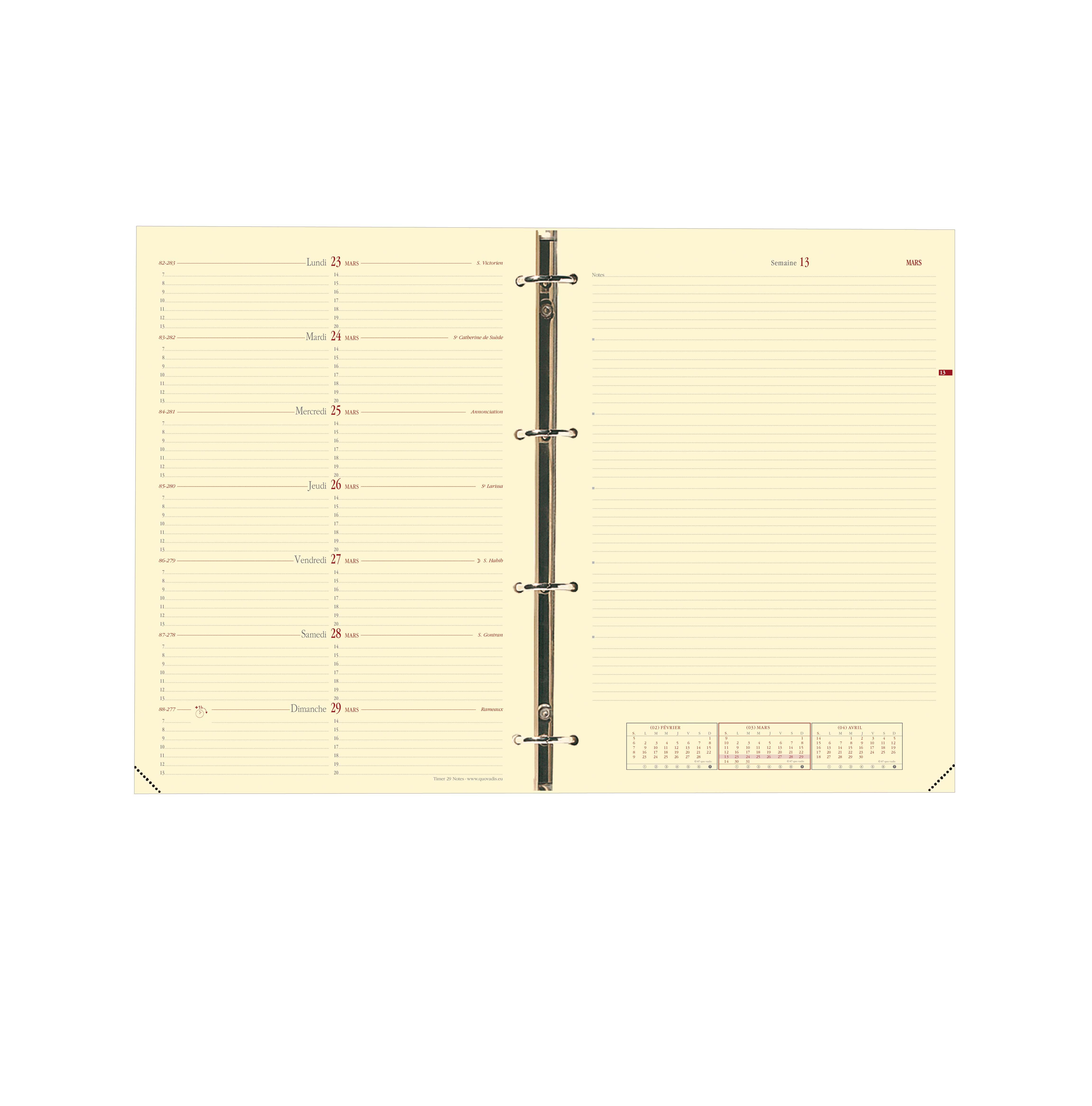 Quo Vadis Timer 29 Notes - Recharge pour organiseur - 1 semaine sur 2 pages - 21 x 29,7 cm