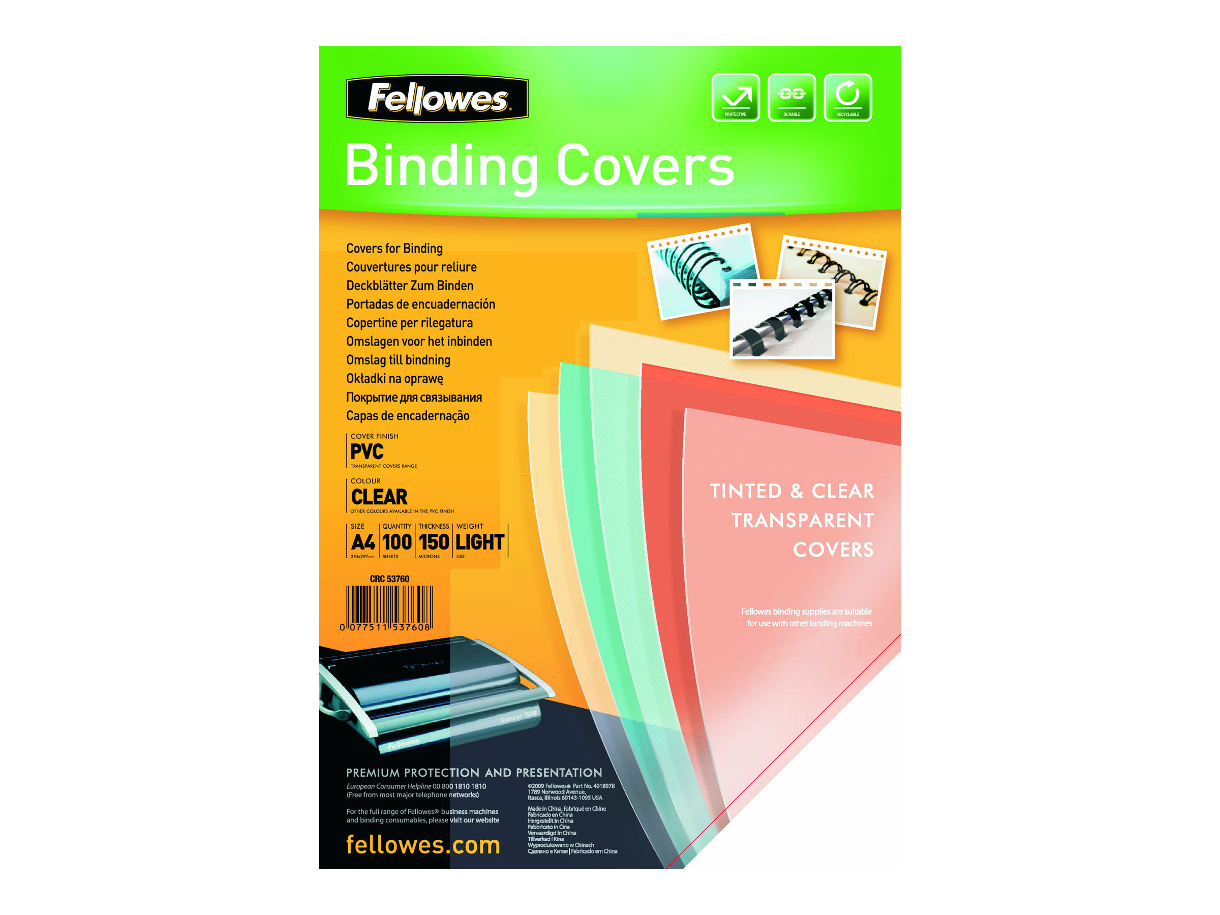 Fellowes - 100 couvertures à reliure A4 (21 x 29,7 cm) - plastique 150 microns - transparent