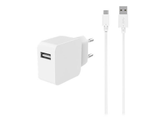 BigBen - chargeur secteur pour smartphone + 1 câble USB-A/ USB-C - blanc