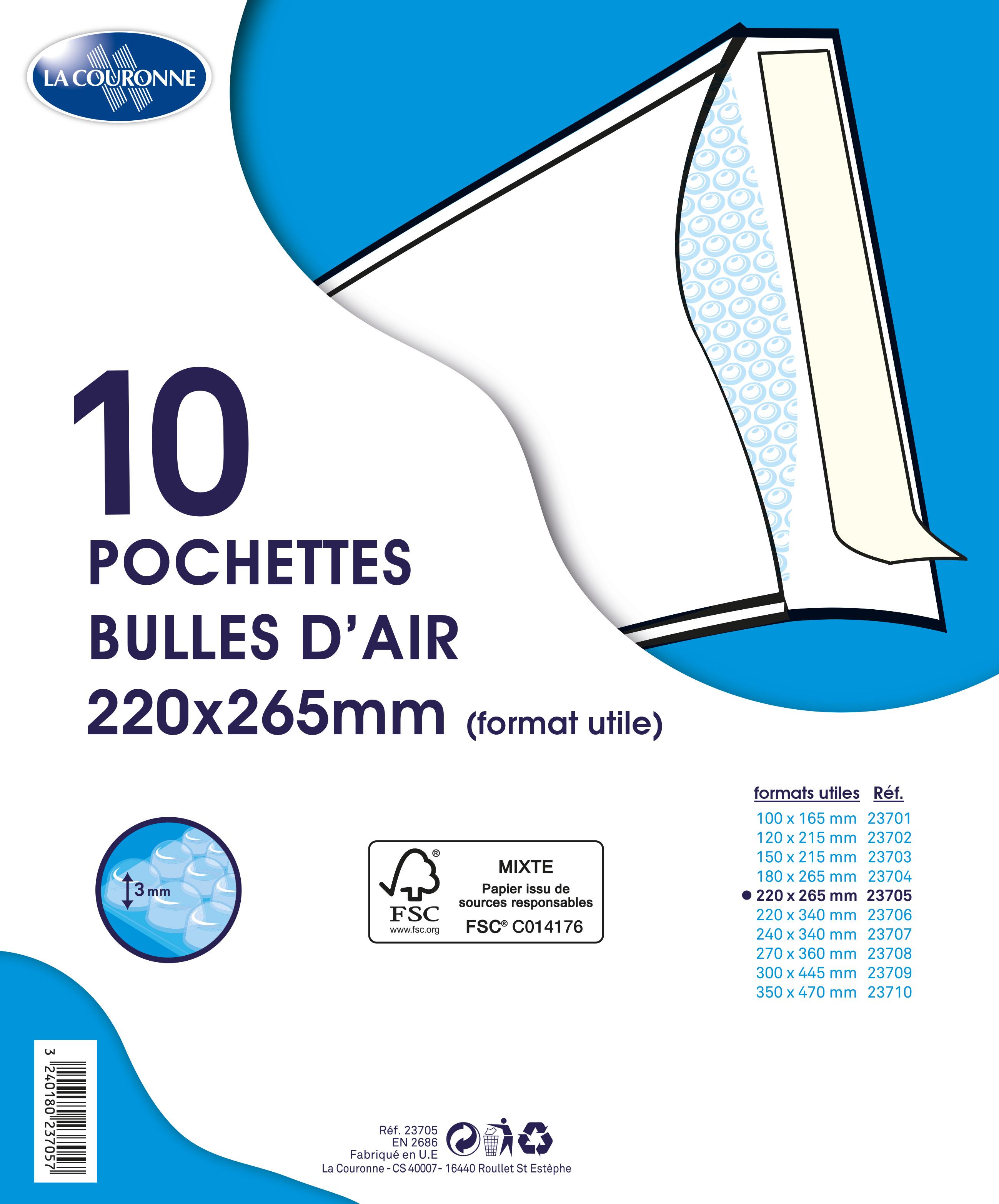La Couronne - 10 pochettes bulles - 220 x 265 mm - autocollant - blanc