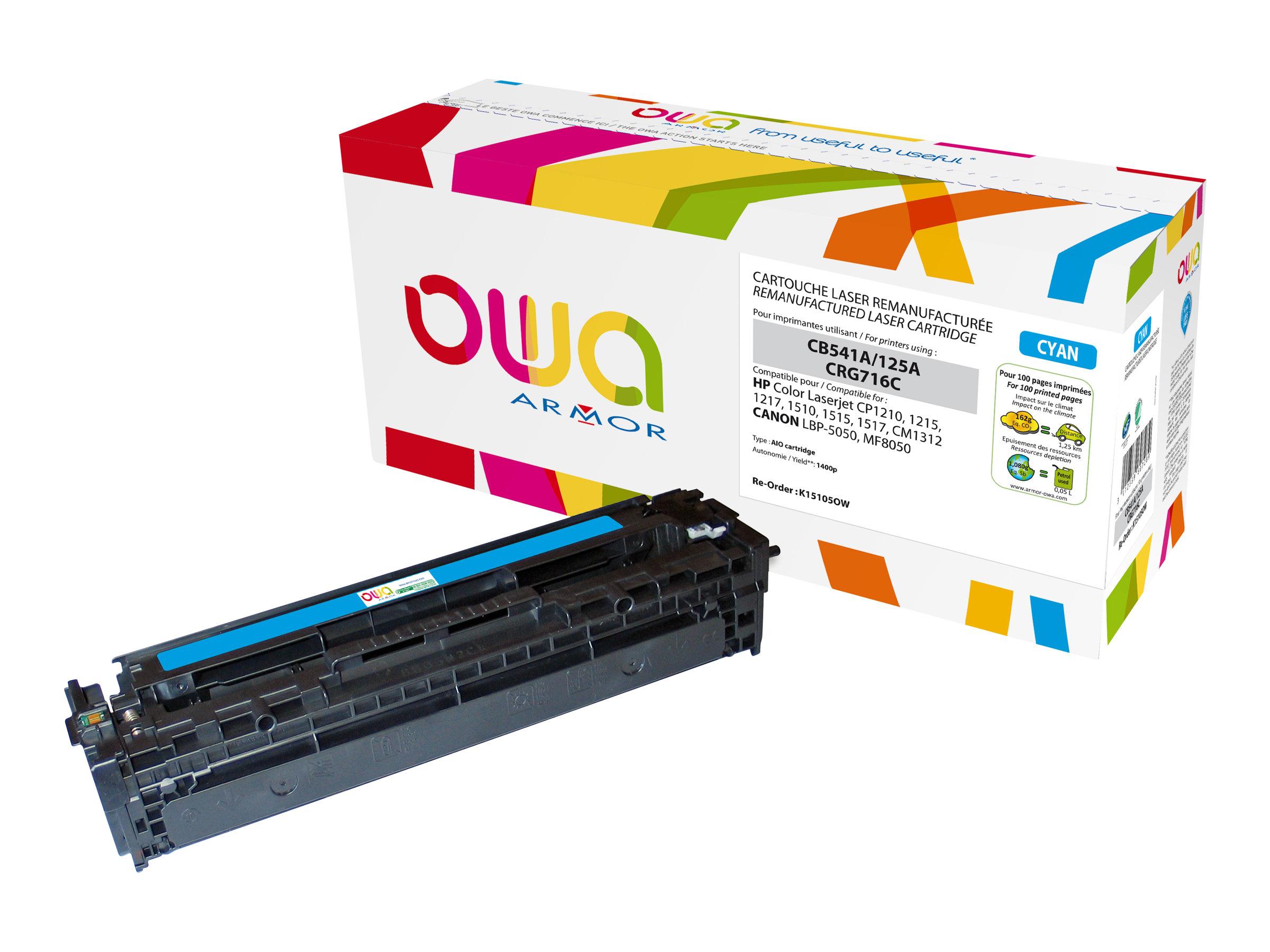 Owa K15105OW cartouche équivalente HP 125A - cyan