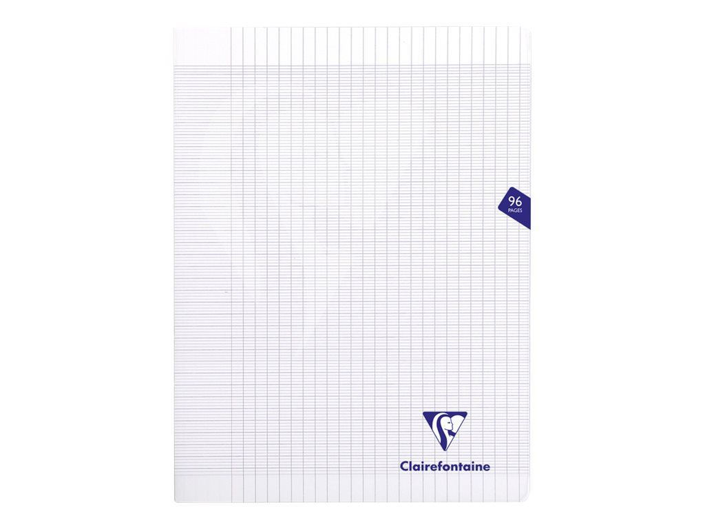 Clairefontaine MIMESYS - Cahier polypro 24 x 32 cm - 96 pages - grands carreaux (Seyes) - incolore