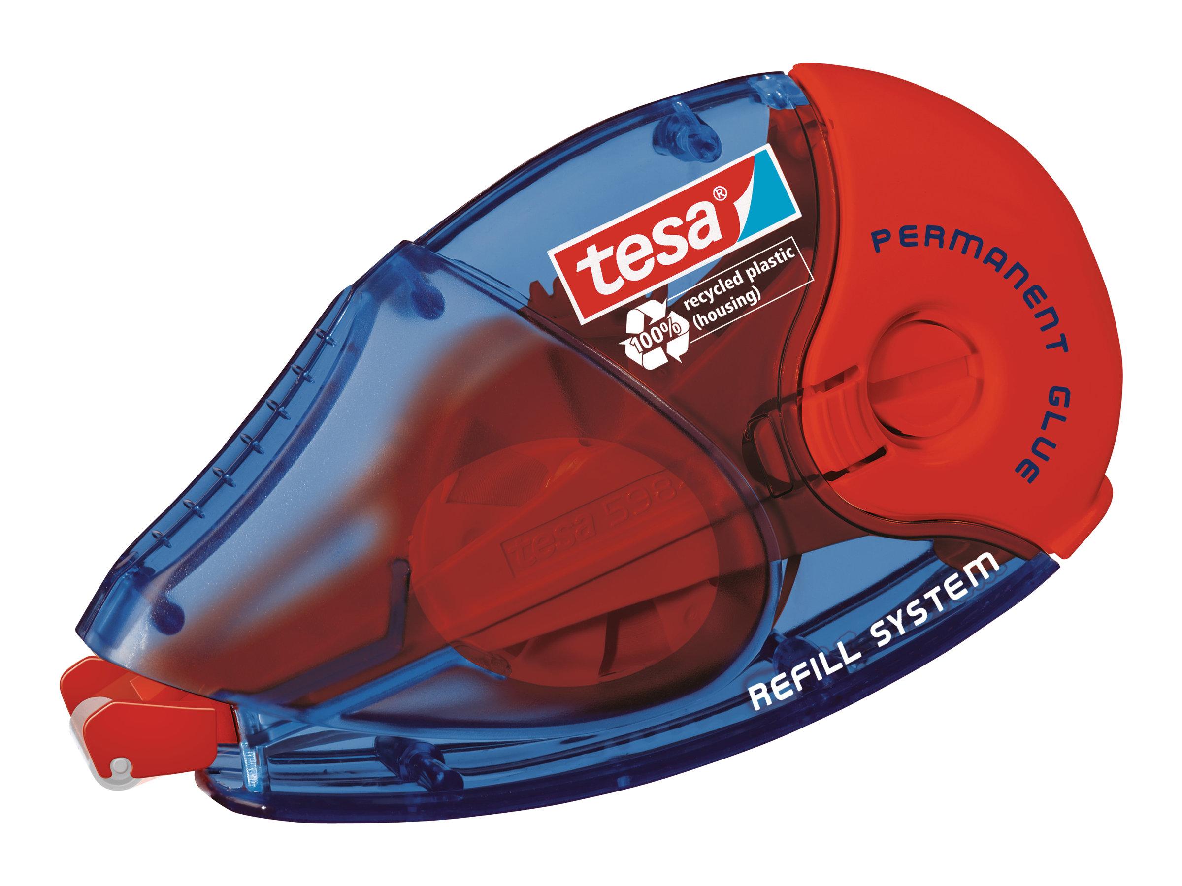 Tesa - Roller de colle - 8.4 mm x 14 m - rouge - permanent - boîtier transparent