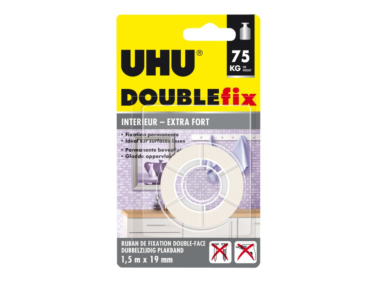 UHU DOUBLEfix Extra fort - Ruban adhésif double face - 19 mm x 1,5 m