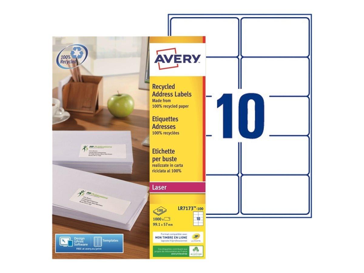 Avery - 1000 Étiquettes adresse recyclées blanches - 99,1 x 57 mm - Impression laser - réf LR7173-100