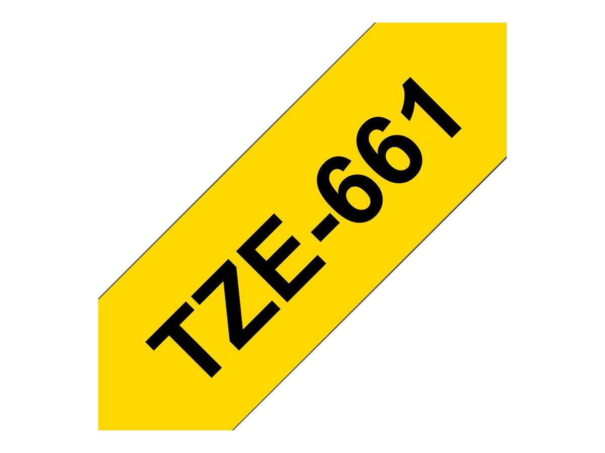 Brother TZe661 - Ruban d'étiquettes auto-adhésives - 1 rouleau (36 mm x 8 m) - fond jaune écriture noire