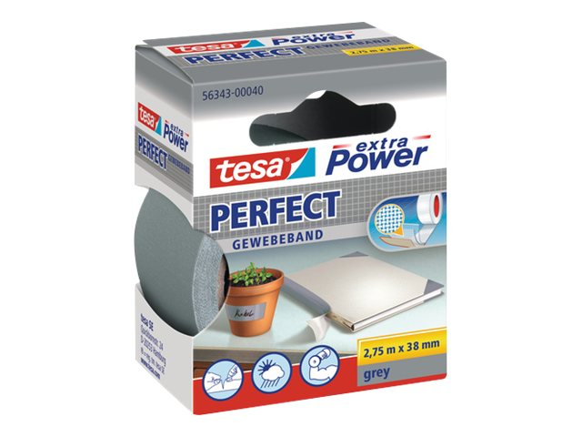 Tesa extra Power Perfect - Ruban adhésif en toile - 38 mm x 2.75 m - gris