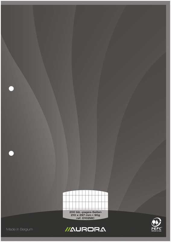 Aurora - Bloc de cours A4 - quadrillé avec marge bleu - 200 pages - perforation 2 trous