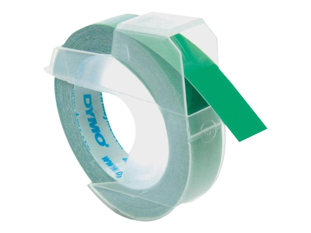 Dymo - Ruban d'étiquettes auto-adhésives 3D - 1 rouleau (9 mm x 3 m) - fond vert