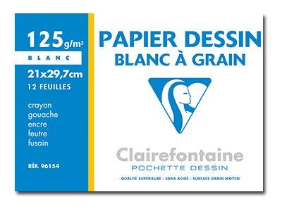 Clairefontaine Dessin à Grain - Pochette papier à dessin - 12 feuilles - A4 - 125 gr - blanc