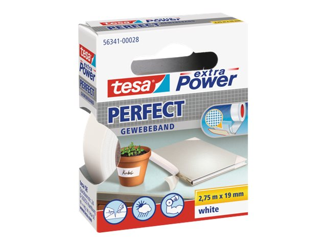 Tesa extra Power Perfect - Ruban adhésif en toile - 19 mm x 2.75 m - blanc