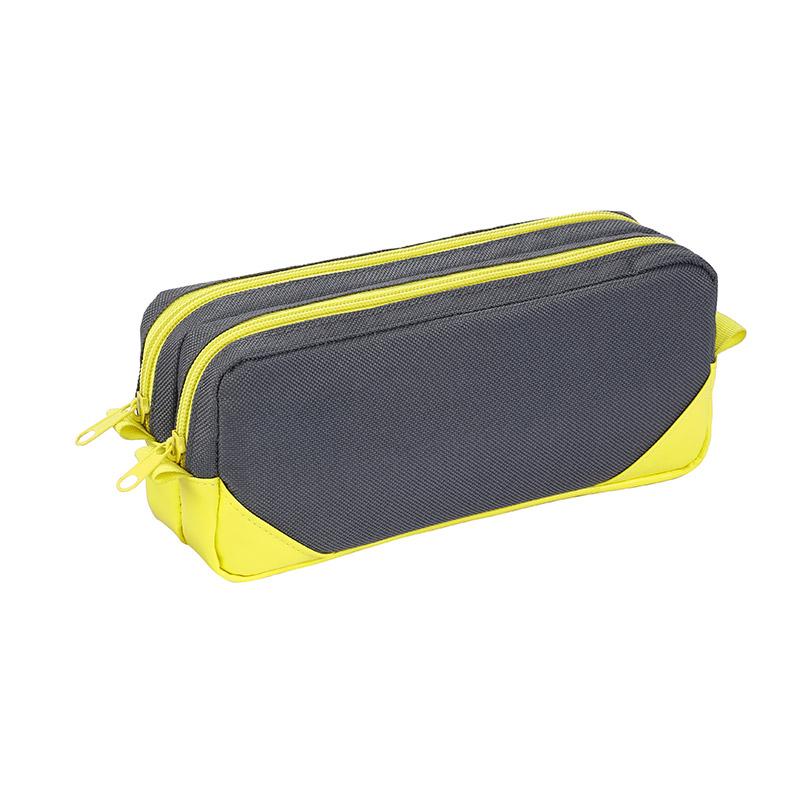 Trousse rectangulaire Corner - 2 compartiments - gris/jaune - Viquel