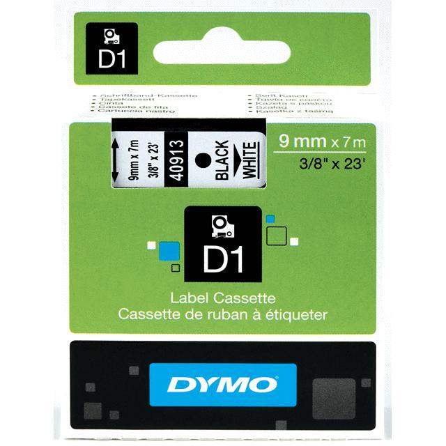 Dymo D1 - Ruban d'étiquettes auto-adhésives - 1 rouleau (9 mm x 7 m) - fond blanc écriture noire