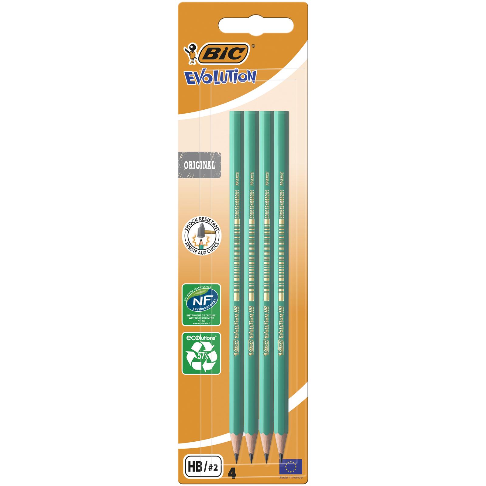 BIC ECOlutions EVOLUTION 650 - Pack de 4 Crayons à papier - HB