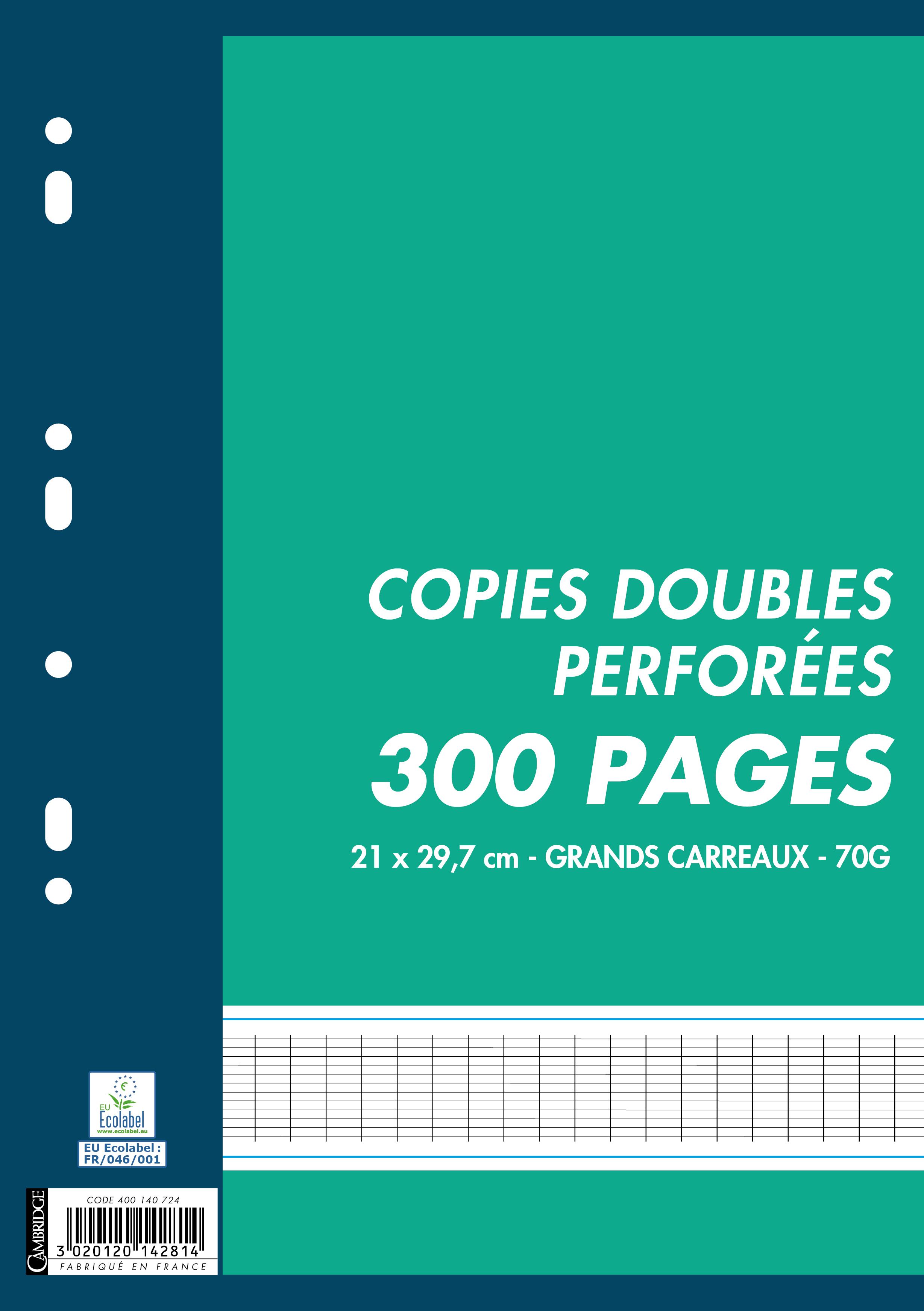 Cambridge - 300 copies doubles A4 - grands carreaux - perforées