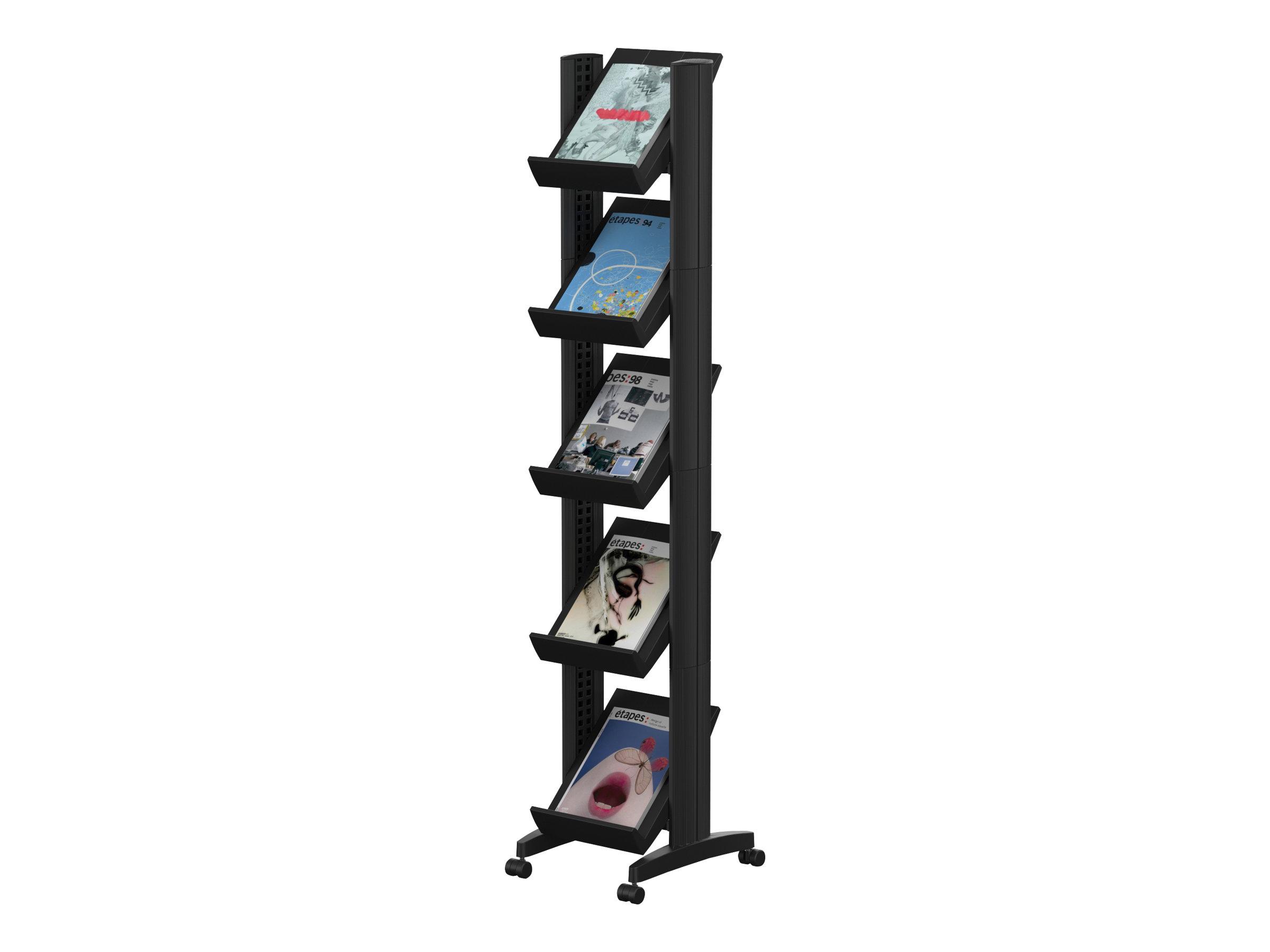 Présentoir mobile Corner - 5 tablettes pour documents format 24 x 32 cm - noir