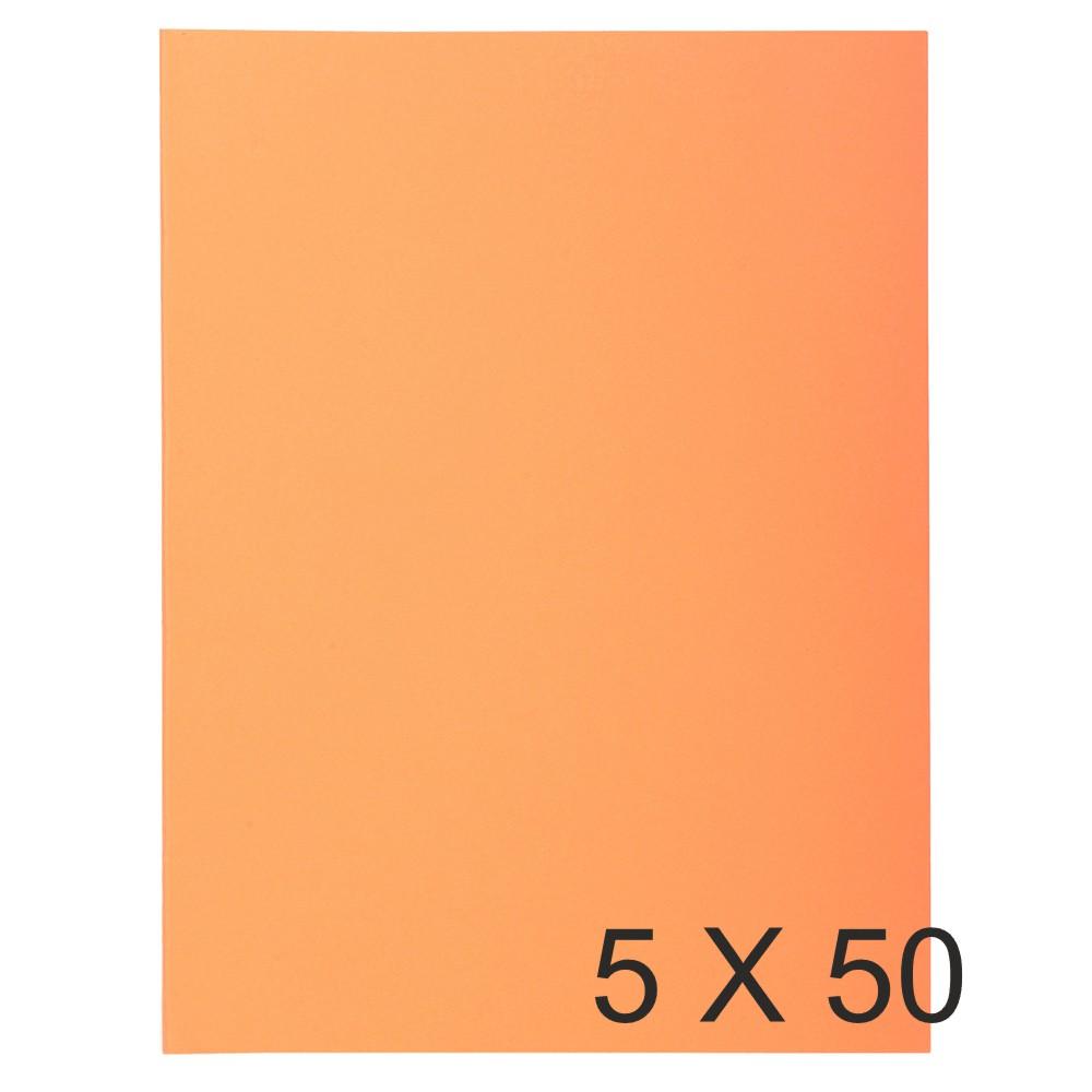 Exacompta Super 210 - 5 Paquets de 50 Chemises 2 rabats - 210 gr - orange