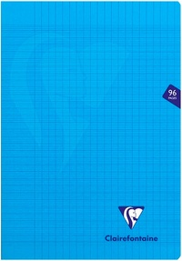 Clairefontaine Mimesys - Cahier polypro A4 (21x29,7 cm) - 96 pages - grands carreaux (Seyes) - bleu