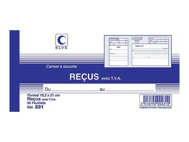 ELVE - Carnet à souche reçus avec TVA - 50 feuillets - 10,5 x 21 cm