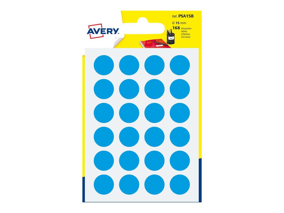 Avery - 168 Pastilles adhésives - bleu - diamètre 15 mm