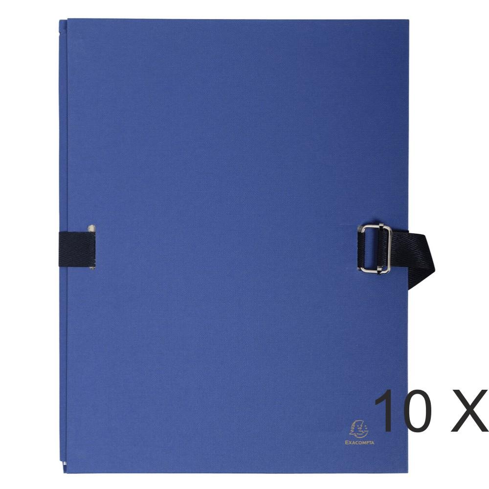 Exacompta - 10 Chemises extensibles à sangle avec rabat papier - bleu foncé