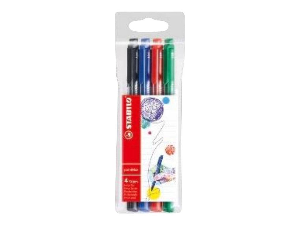 STABILO pointMax - 4 feutres d'écriture - pointe moyenne - couleurs assorties classiques
