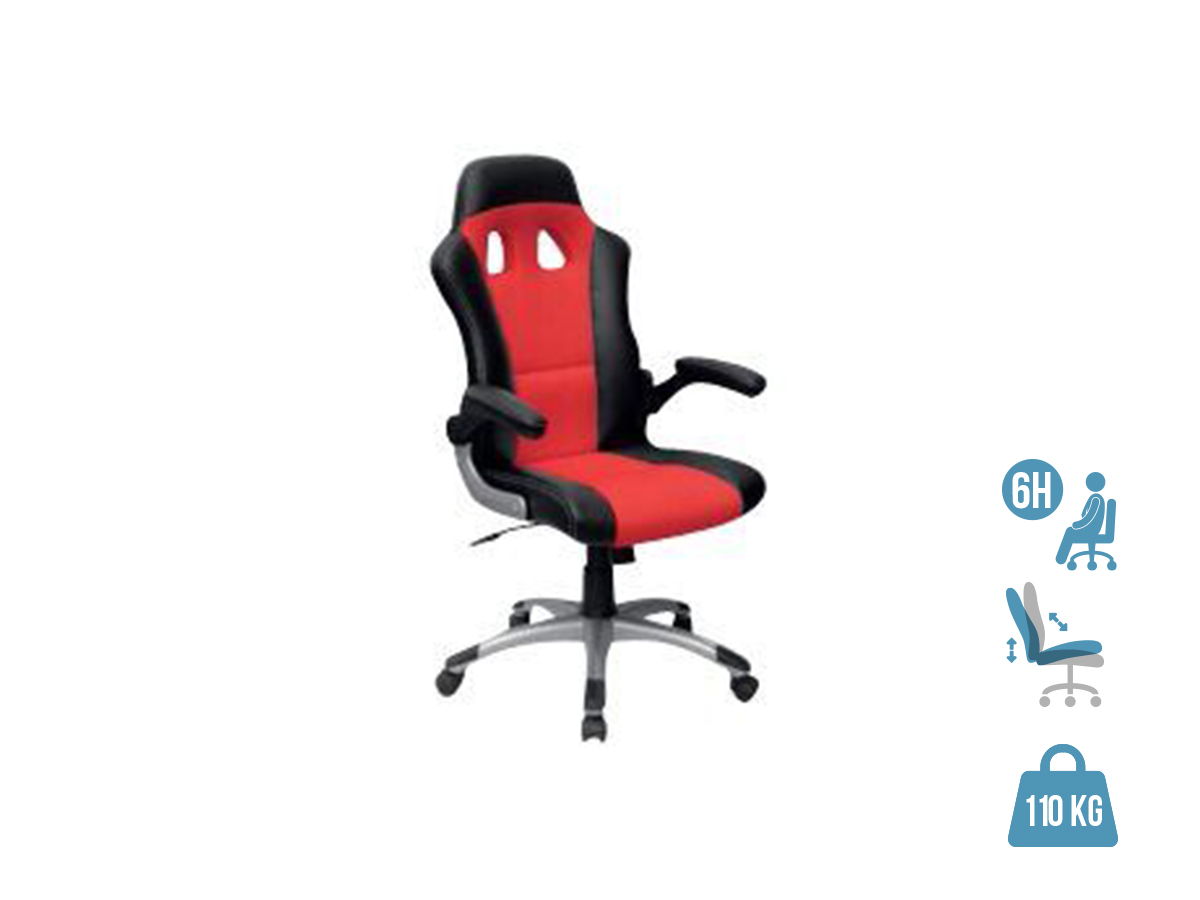 Fauteuil gamer RACER - accoudoirs rabattables - Noir et rouge