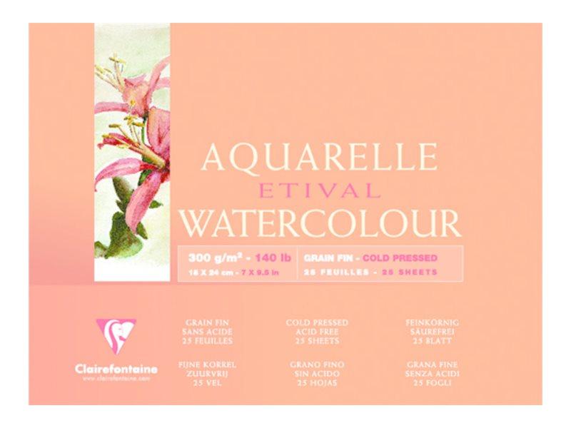 Clairefontaine Etival - Bloc de papier aquarelle - 25 feuilles 18 x 24 cm - 300 g/m²
