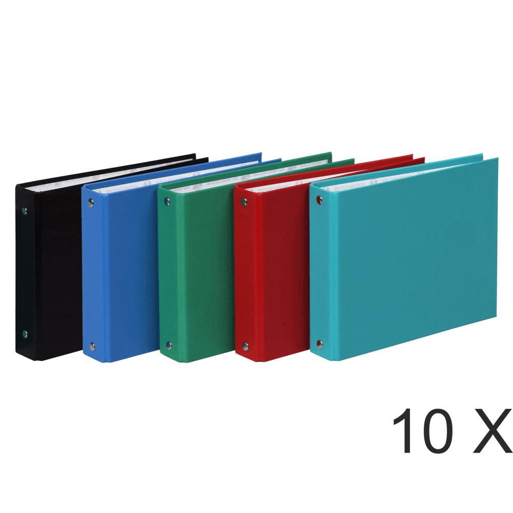 Exacompta - 10 Classeurs 2 anneaux - Dos 40 mm - pour fiches bristol 12,5 x 20 cm - disponible dans différentes couleurs