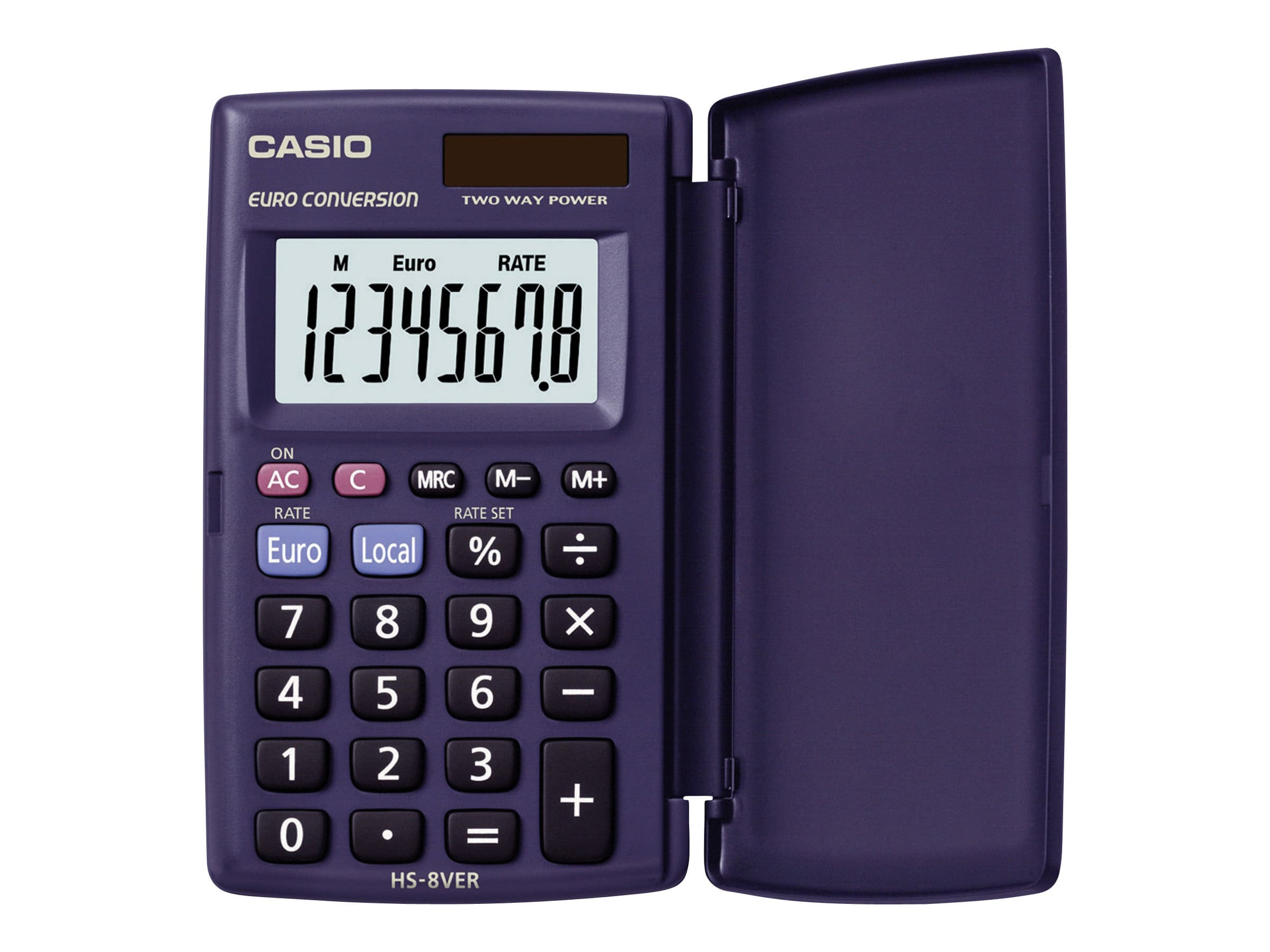 Calculatrice de poche Casio HS-8VER - 8 chiffres - alimentation batterie et solaire