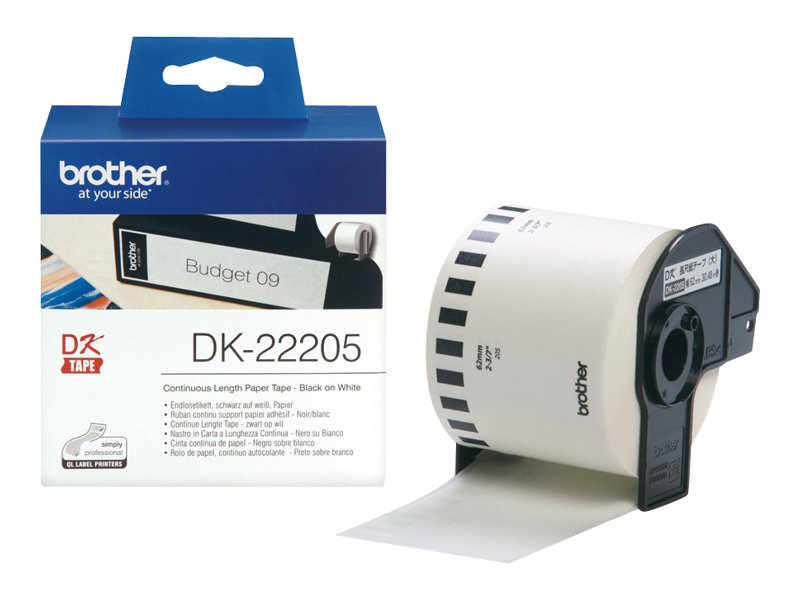 Brother DK-22205 - Ruban d'étiquettes auto-adhésives - 1 rouleau (62 mm x 30,5 m) - fond blanc écriture noire