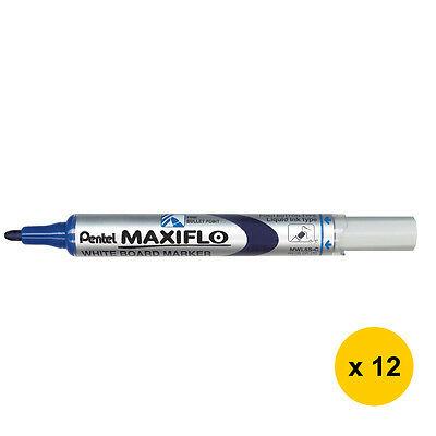 Pentel MAXIFLO - Pack de 12 marqueurs effaçables - pointe ogive - bleu