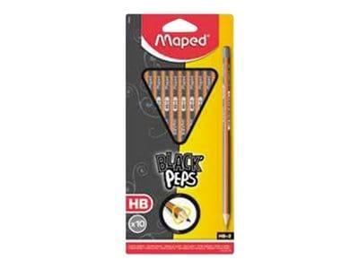 Maped Black'Peps - Pack de 10 crayons à papier - HB