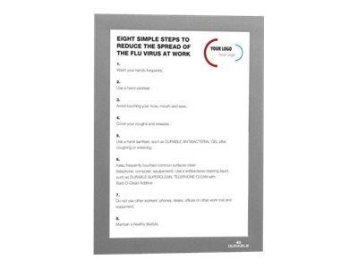 Durable Duraframe - Cadre d'affichage adhésif repositionnable - A5 - argent