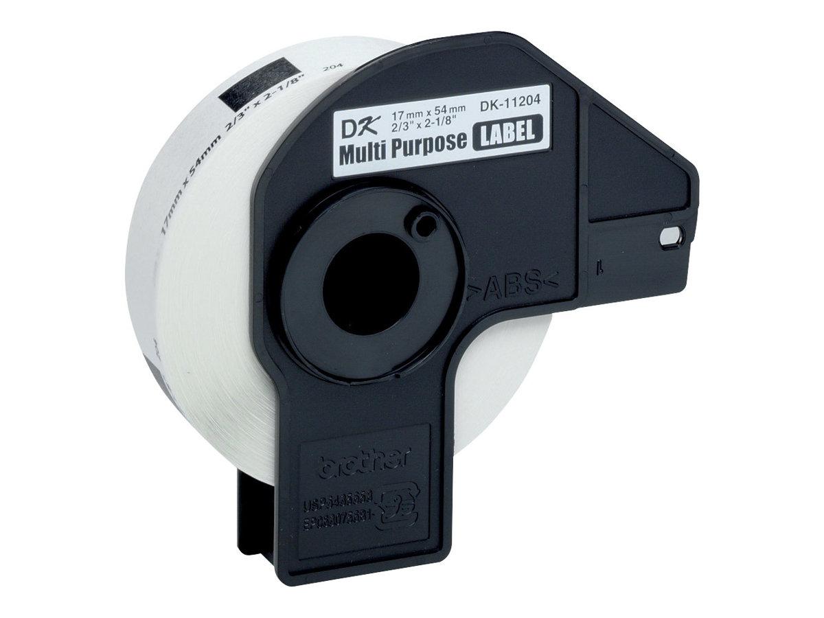 Brother DK-11204 - Ruban d'étiquettes auto-adhésives - 1 rouleau de 400 étiquettes (17 x 54 mm) - fond blanc écriture noire