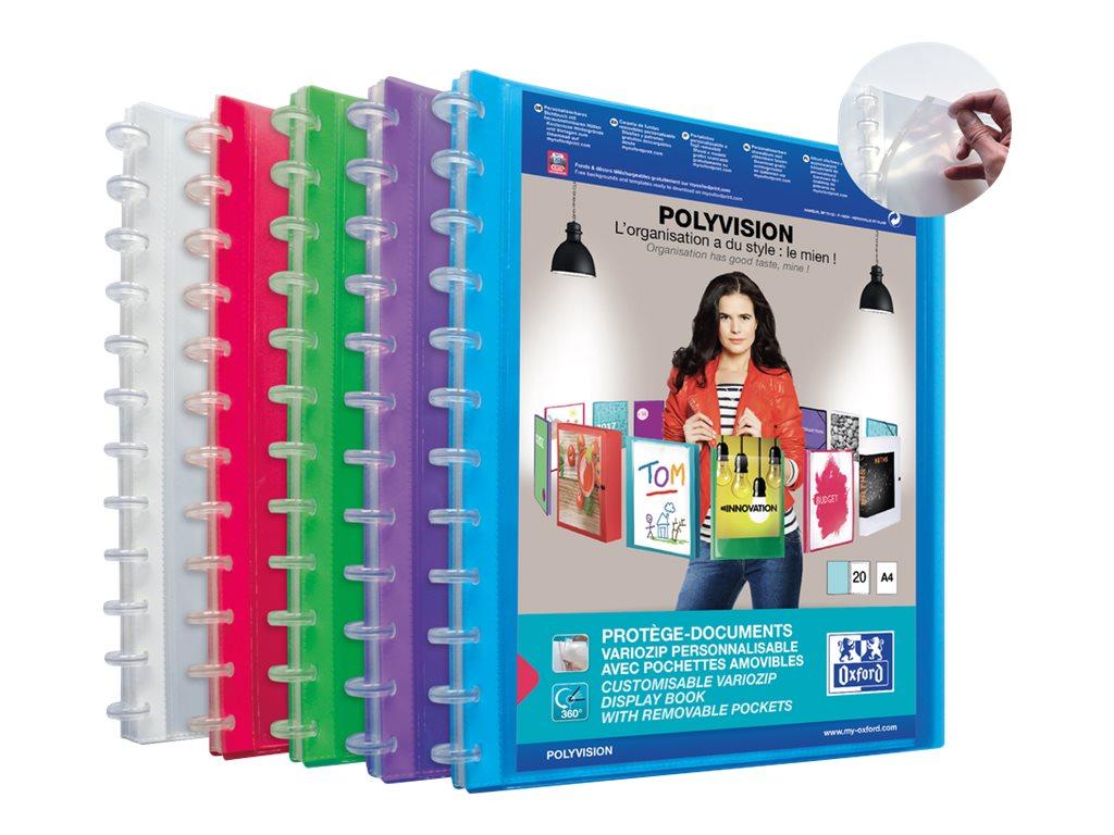 Oxford Polyvision Vario-Zip - Porte vues personnalisable rechargeable - 40 vues - A4 - disponible dans différentes couleurs translucides