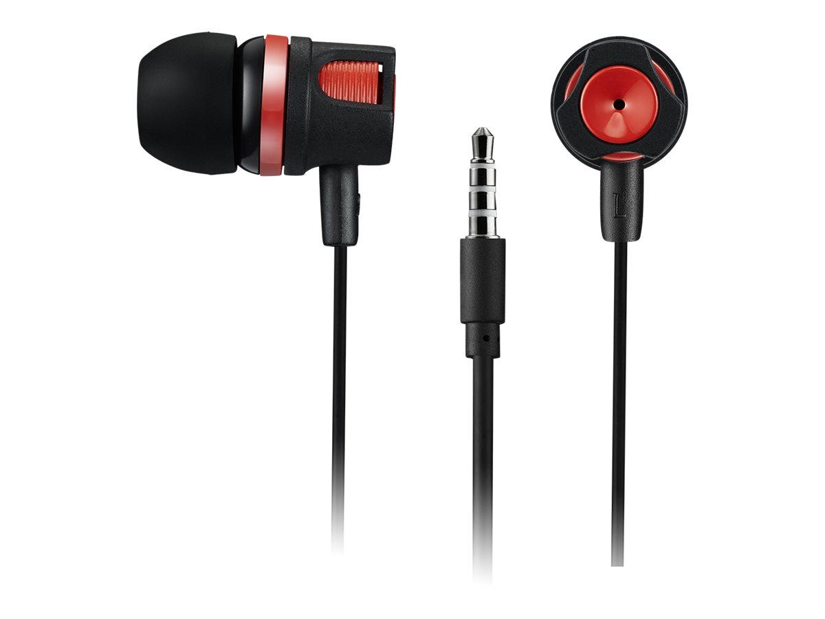 CANYON Kit main libre - Ecouteurs filaire avec micro - intra-auriculaire - noir/rouge