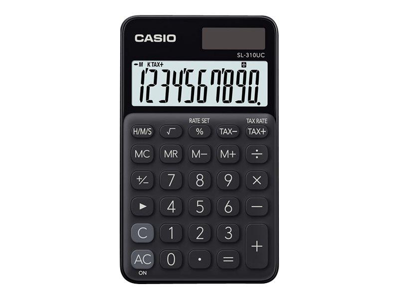 Calculatrice de poche Casio SL-310UC - 10 chiffres - alimentation batterie et solaire - noir