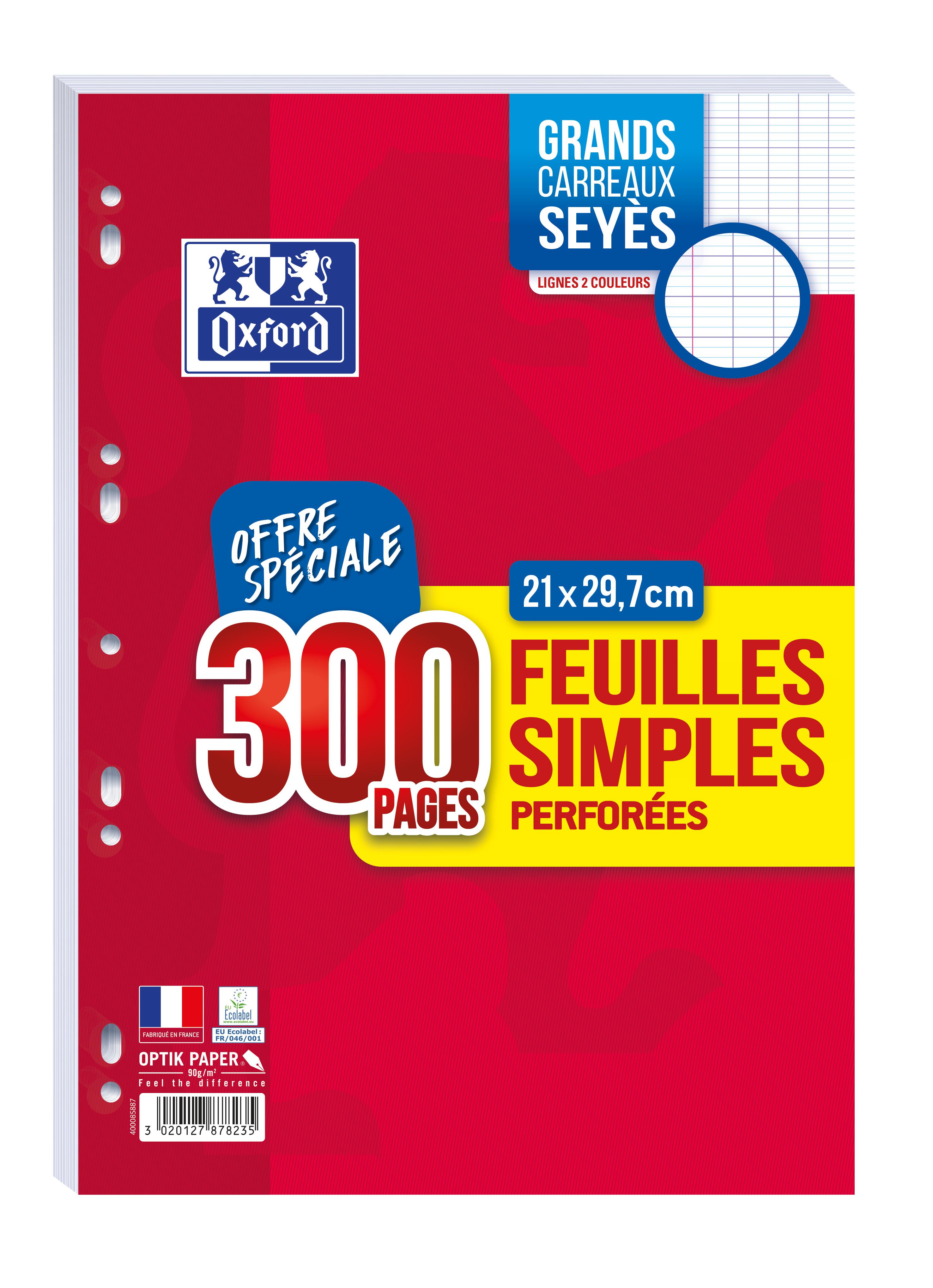 Oxford - Bloc de cours 300 feuilles simples détachables A4 - grands carreaux - perforées