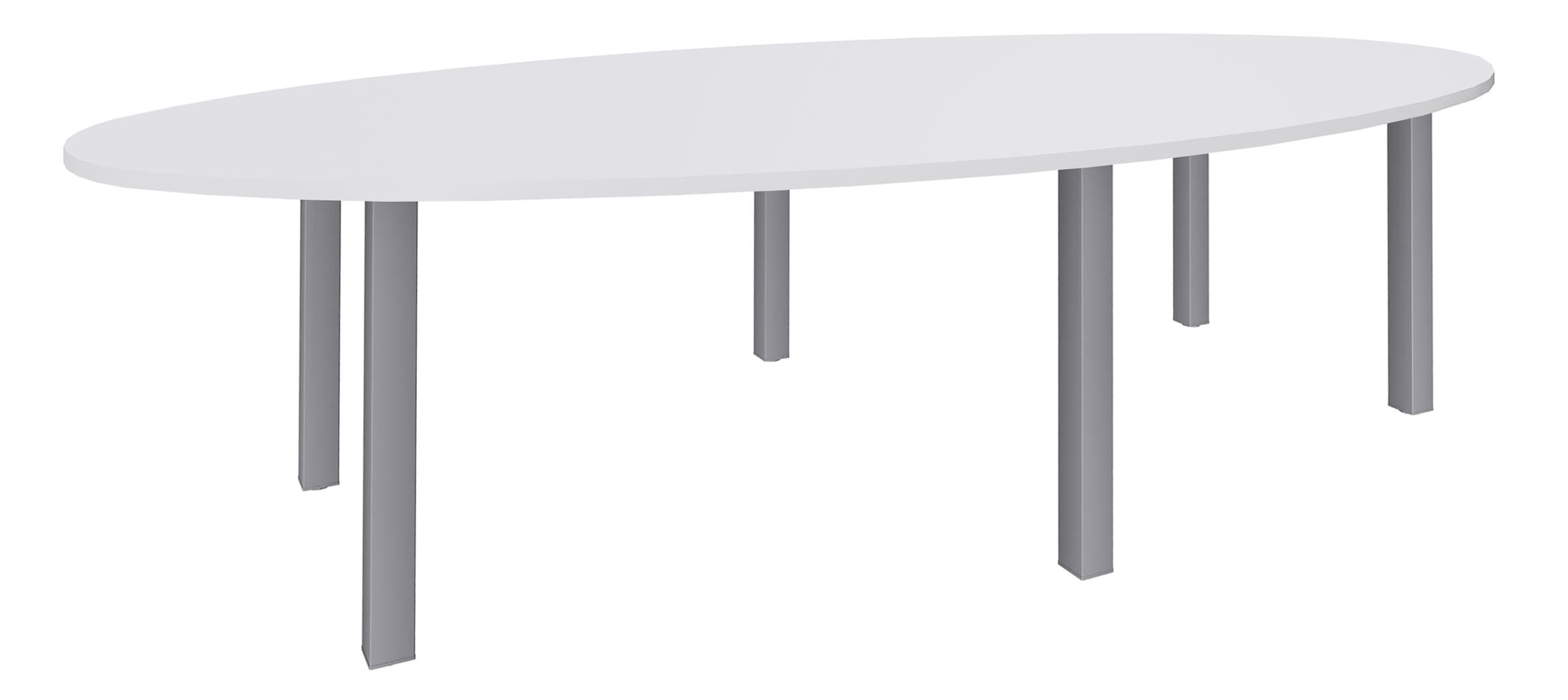 Table de réunion ovale - L280 cm - pieds exprim alu - Plateau blanc perle