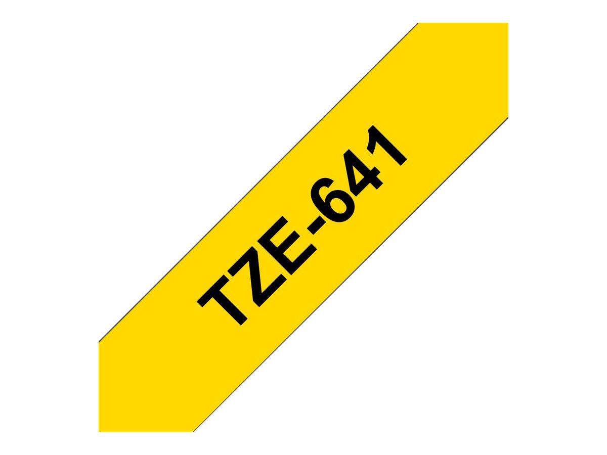 Brother TZe641 - Ruban d'étiquettes auto-adhésives - 1 rouleau (18 mm x 8 m) - fond jaune écriture noire